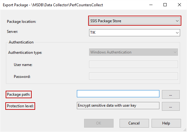 Setting SSIS package encryption manually in SSMS
