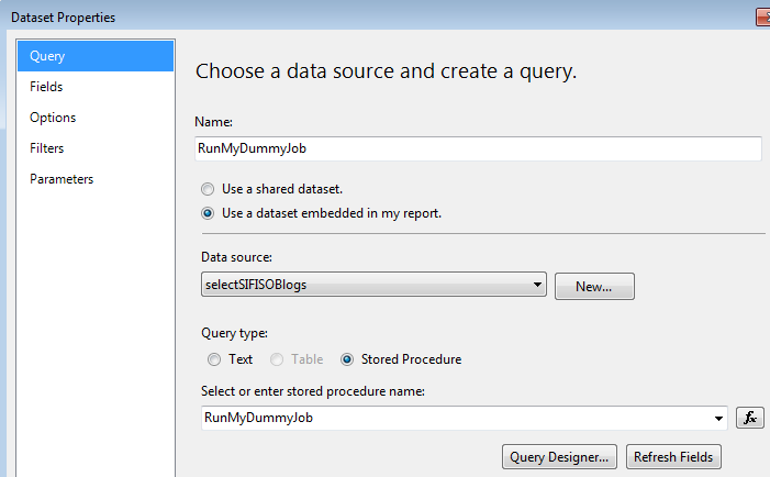 How to use SQL Server Reporting Services to execute SQL