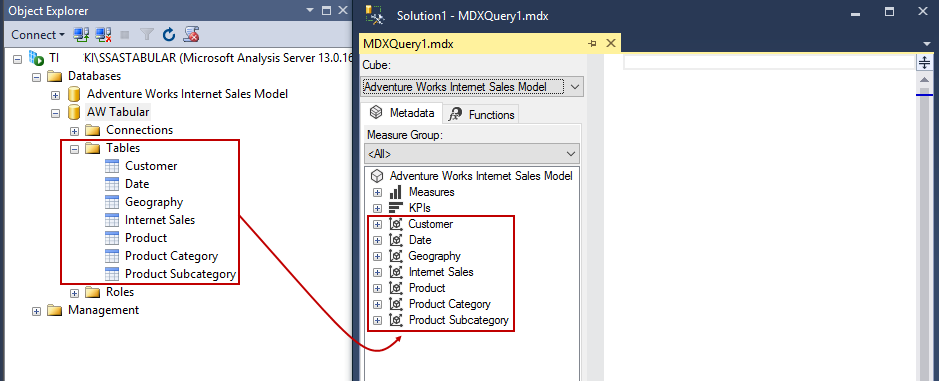How to query a SSAS Tabular model database using DAX functions