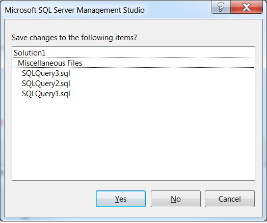 Microsoft SQL Server Management Studio Save changes to the following items