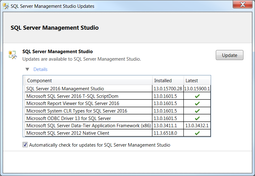SQL Server Management Studio Updates