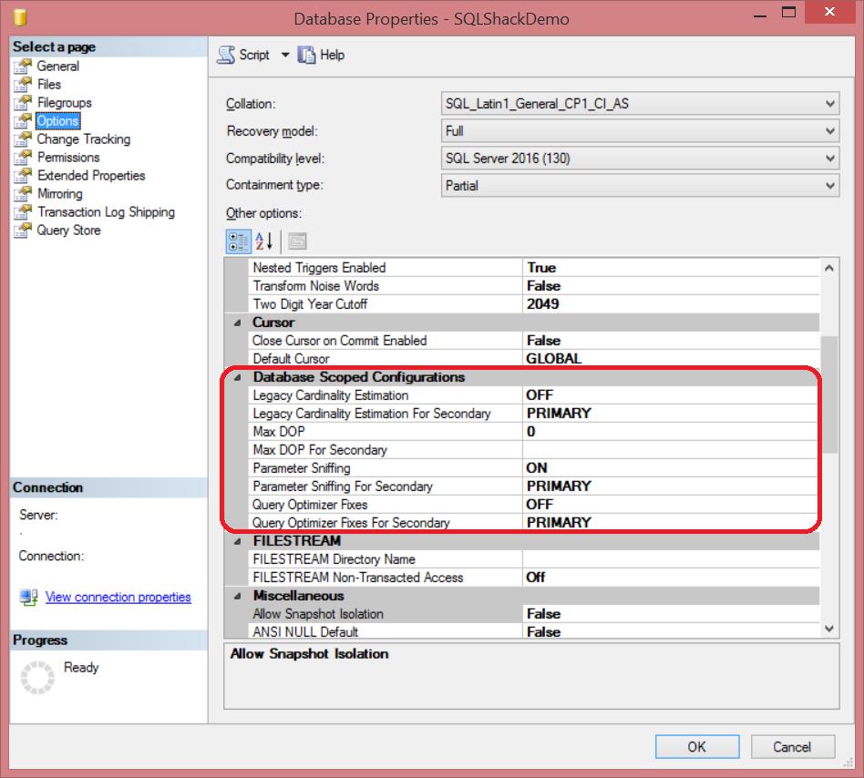 SQL Server 2016 Database Scoped Configuration