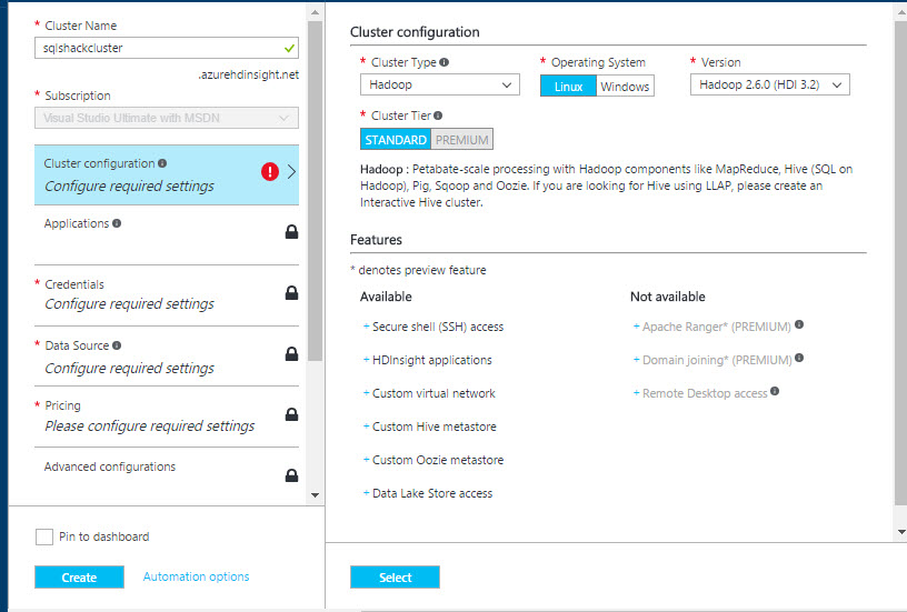 How to create and configure Microsoft Azure HDInsight