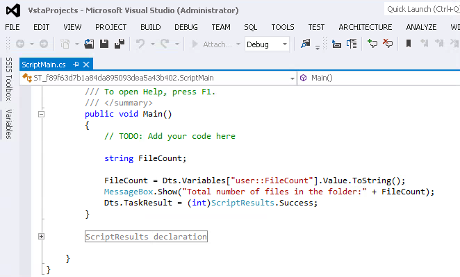 Script Task Debugging in SQL Server Integration Services (SSIS)