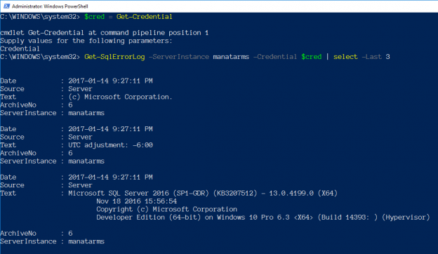 Connecting PowerShell to SQL Server - Using a Different Account