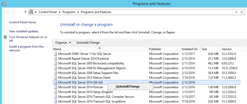 How to install configure and use sql server distributed replay find the respective microsoft sql server instance version and right click on it and then click on uninstallchange sciox Choice Image