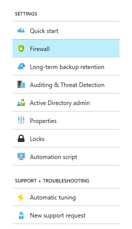 Configuring the Azure SQL Database Firewall