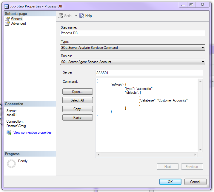 How to automate SSAS tabular model processing in SQL Server 2016