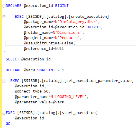 How to execute a Deployed Package from the SSIS Catalog with