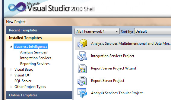 The evolution of sql server data tools ssdt for business figure 1 ssdt 2010 bi templates wajeb Images