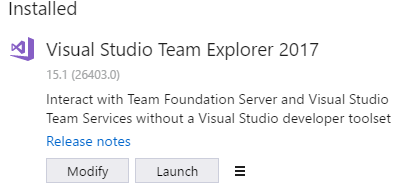 The Return of Standalone Installer for Team Explorer 2017