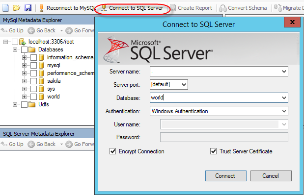 How to migrate MySQL tables to SQL Server using the SQL Server