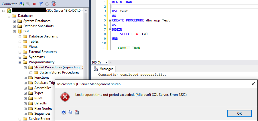 SQL Server lock issues when using a DDL (including SELECT