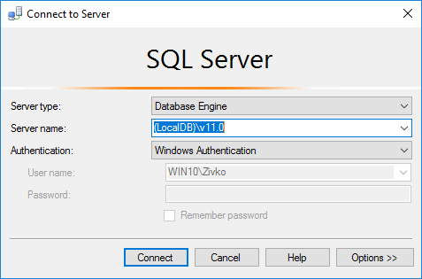 How to connect and use Microsoft SQL Server Express LocalDB