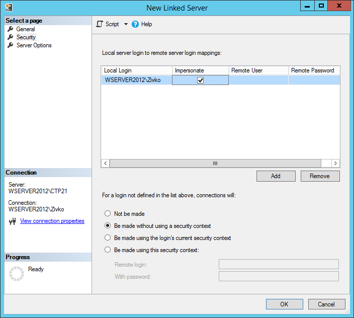 How to create and configure a linked server in SQL Server Management