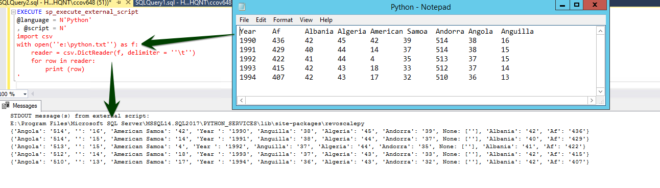 How to use Python in SQL Server 2017 to obtain advanced data