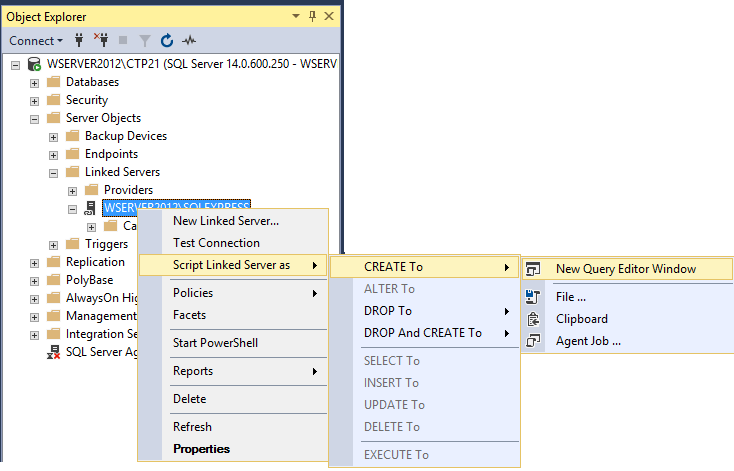 How to create, configure and drop a SQL Server linked server