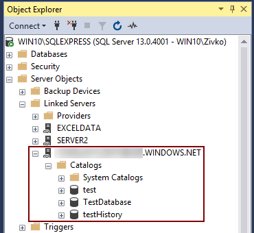 How to create a linked server to an Azure SQL database
