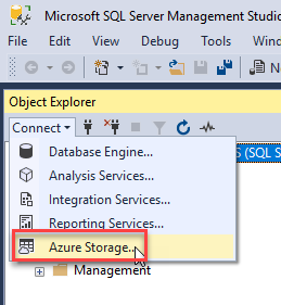 How to connect to the Azure Storage Account with SQL Server