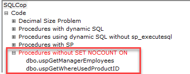 SQL unit testing with SQL cop - example test
