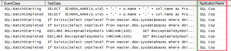 SQL unit testing with SQL cop - SQL profiler results