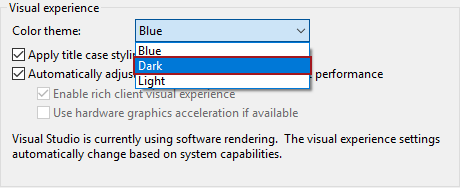 SSMS Dark theme option under Visual experience settings