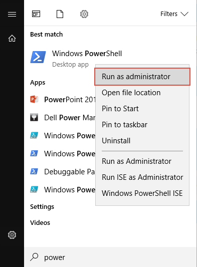 Running Windows PowerShell as administrator