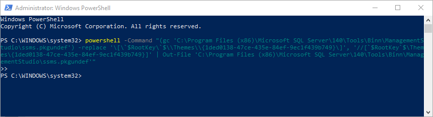 The successfully executed script in Windows PowerShell to enable SSMS Dark theme