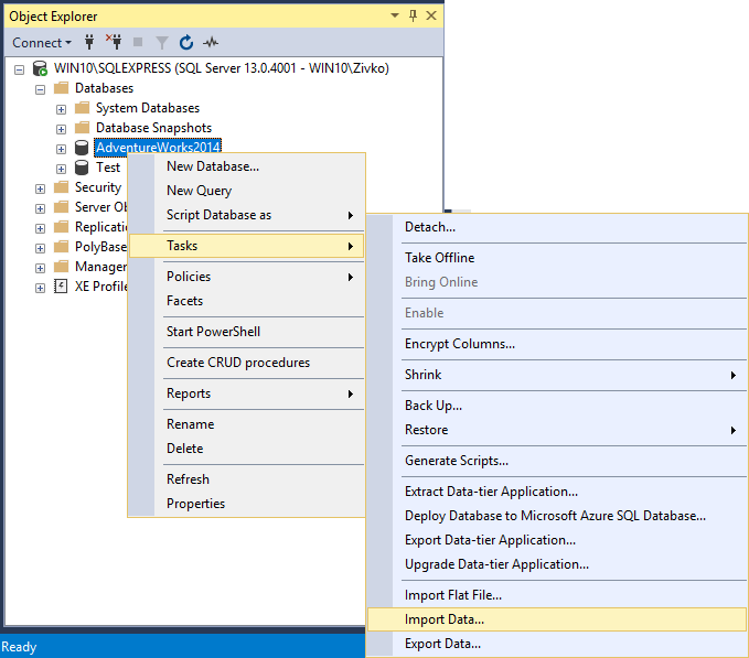 How to import/export data to SQL Server using the SQL Server Import