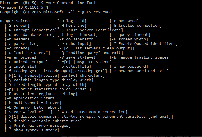 Working with the SQL Server command line (sqlcmd)