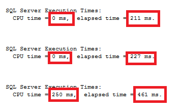 difference in execution times