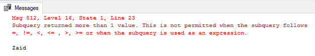 Subquery error message with variable