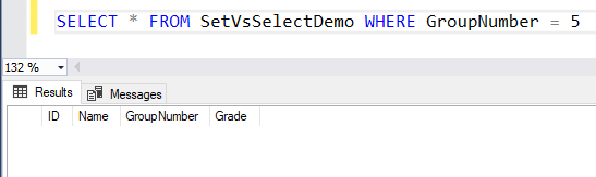 Output of select statement