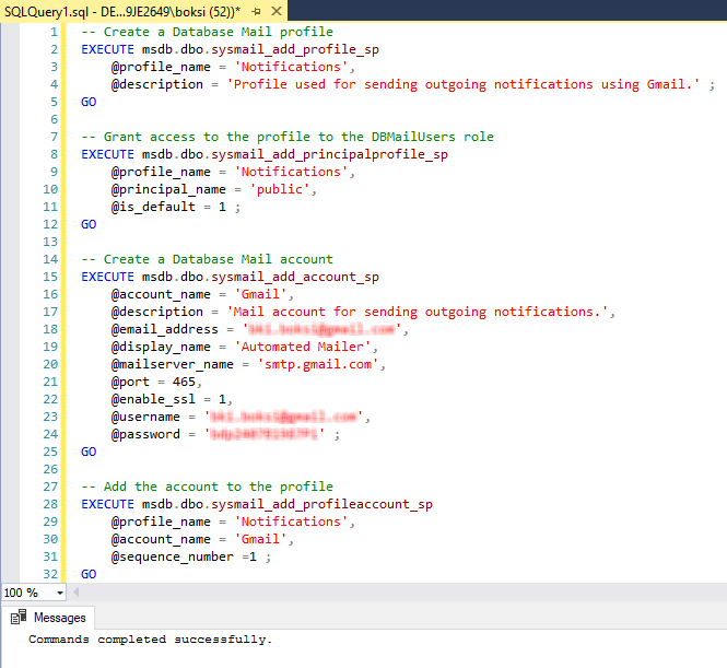 Successfully executed script for configuring SQL Server send email function