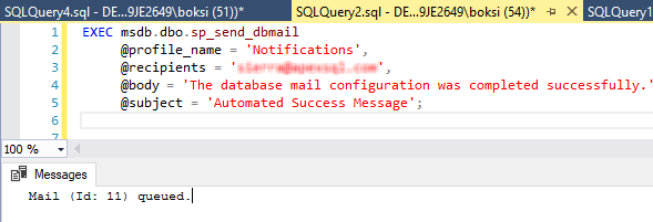 Script for sending an email message using the sp_send_dbmail stored procedure
