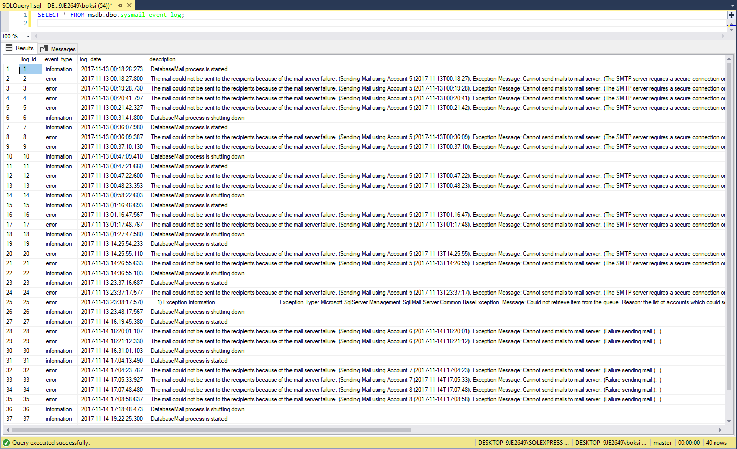 Results grid of SSMS populated with messages returned by the SQL Server Database Mail system