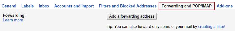 Forwarding and POP/IMAP tab of Gmail settings