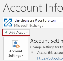 An option to add account in Outlook client under the File tab