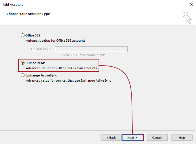Add Account dialog in Outlook client with POP or IMAP option checked