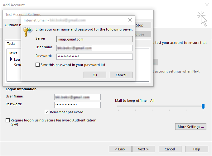 Internet Email dialog in Windows for configuring user name and password for an IMAP server