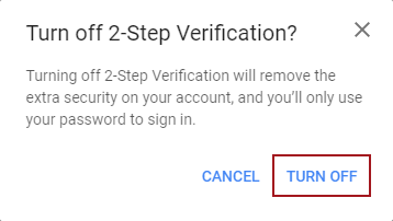 Confirmation dialog to disable Gmail 2-Step Verification for less secure apps access