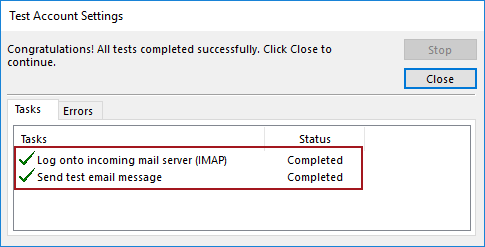 Test Account Settings dialog in Windows showing that all tests completed successfully
