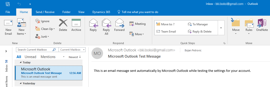 The inbox of Outlook client showing that an e-mail message is delivered successfully