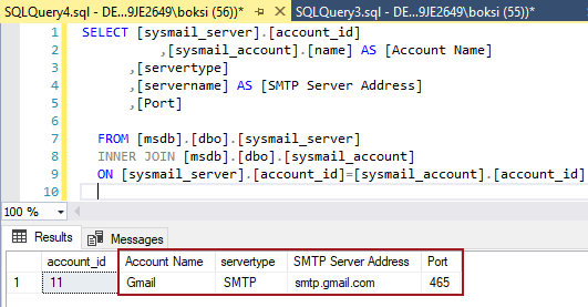 An executed script in SSMS showing settings for account name, server type, server address, and port number of SQL Server Database Mail