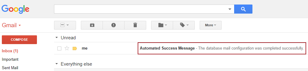 The inbox of Gmail showing an e-mail with the body saying that dbmail was configured successfully