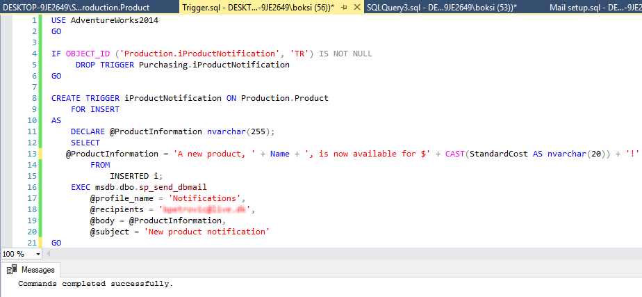 Script for creating a trigger and sending an email using the sp_send_dbmail stored procedure