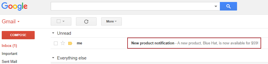 The inbox of Gmail showing an e-mail with the body saying that a new product is available