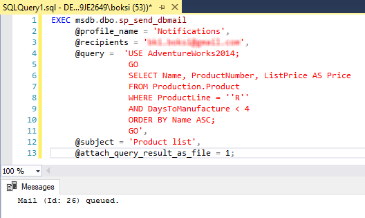 Script for sending an email using the sp_send_dbmail stored procedure with results from a query