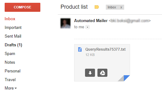Gmail inbox showing an e-mail with results of a SELECT statement as an attachment