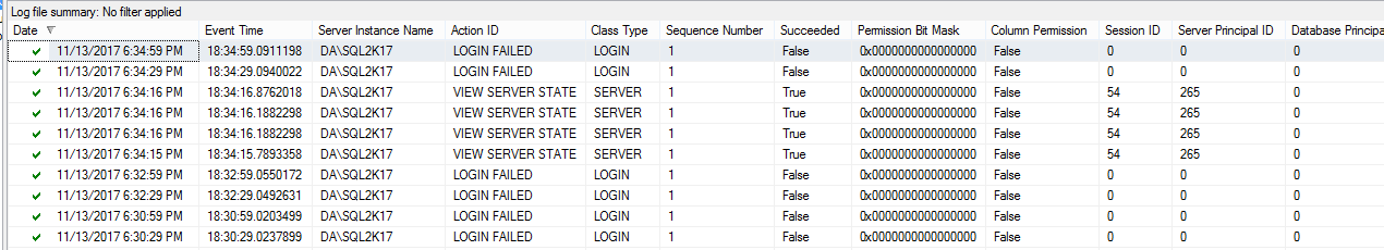 SQL Server auditing with Server and Database audit specifications